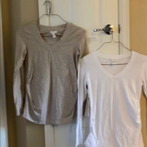 2 long sleeve maternity shirts